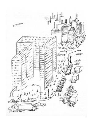 City Scene Drawing - New Yorker August 21st, 1965 by Saul Steinberg