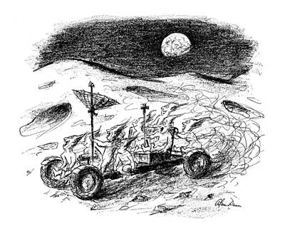 Man In The Moon Drawing - New Yorker August 21st, 1971 by Alan Dunn