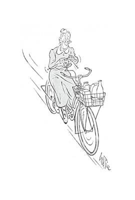 Bicycle Drawing - New Yorker August 22nd, 1942 by George Price