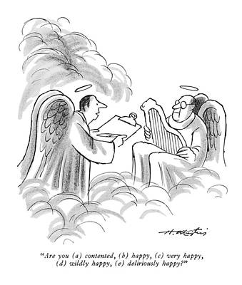 Angels Drawing - New Yorker August 22nd, 1970 by Henry Martin