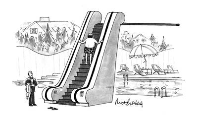 Diving Board Drawing - New Yorker August 22nd, 1994 by Mort Gerberg