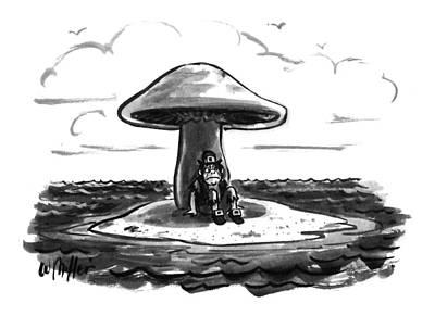 Mushroom Drawing - New Yorker August 22nd, 1994 by Warren Miller