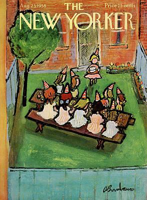 Abe Birnbaum Painting - New Yorker August 23rd, 1958 by Abe Birnbaum