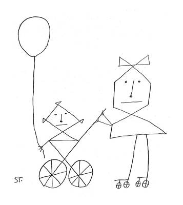 Sisters Drawing - New Yorker August 24th, 1957 by Saul Steinberg