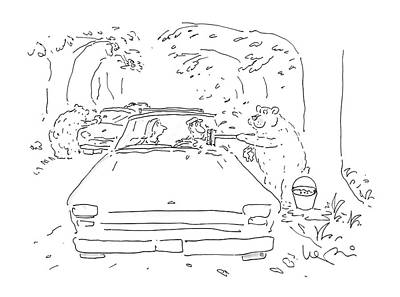 Windshield Drawing - New Yorker August 24th, 1987 by Arnie Levin