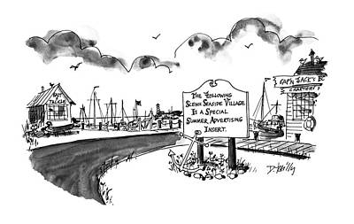 Village Drawing - New Yorker August 24th, 1992 by Donald Reilly