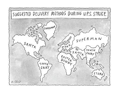 Celebrity Drawing - New Yorker August 25th, 1997 by Roz Chast
