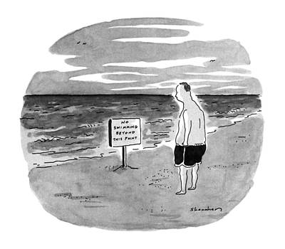 Warning Drawing - New Yorker August 27th, 1990 by Danny Shanahan