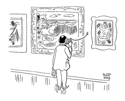 Listening Drawing - New Yorker August 28th, 1954 by Robert J. Day