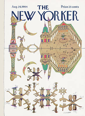 Reflection In Water Painting - New Yorker August 29th, 1964 by Saul Steinberg