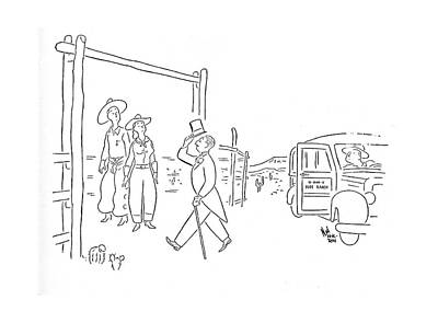 Ranch Drawing - New Yorker August 30th, 1941 by Ned Hilton