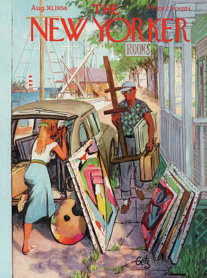 Museums Painting - New Yorker August 30th, 1958 by Arthur Getz