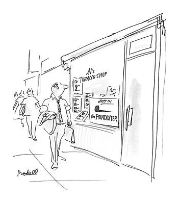 Window Signs Drawing - New Yorker August 3rd, 1987 by Frank Modell