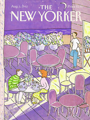 Dinner Table Painting - New Yorker August 3rd, 1992 by Devera Ehrenberg