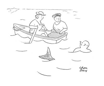 Row Boat Drawing - New Yorker August 5th, 1944 by Chon Day