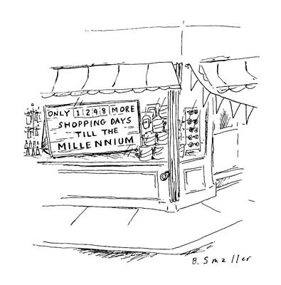 Storefront Drawing - New Yorker August 5th, 1996 by Barbara Smaller