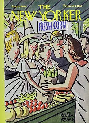 Organic Food Painting - New Yorker August 8th 1964 by Peter Arno