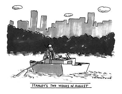 Rowboat Drawing - New Yorker August 8th, 1994 by Michael Crawford