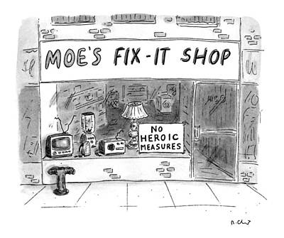 Window Signs Drawing - New Yorker August 8th, 1994 by Roz Chast