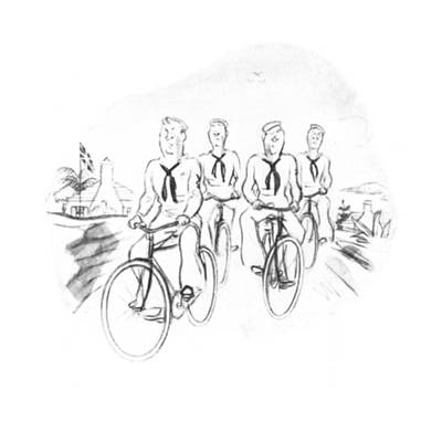 Bicycle Drawing - New Yorker August 9th, 1941 by Leonard Dove