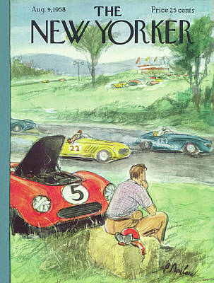 Race Painting - New Yorker August 9th, 1958 by Perry Barlow