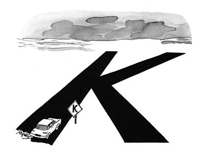 Highway Drawing - New Yorker August 9th, 1993 by Peter Porges
