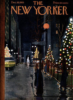 Xmas Painting - New Yorker December 10th, 1955 by Alain