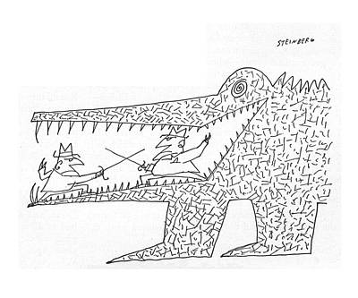Alligator Drawing - New Yorker December 10th, 1960 by Saul Steinberg