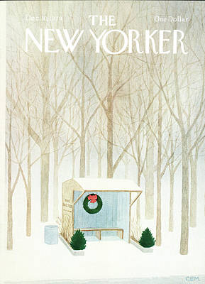 Winter Trees Painting - New Yorker December 10th, 1979 by Charles E Martin