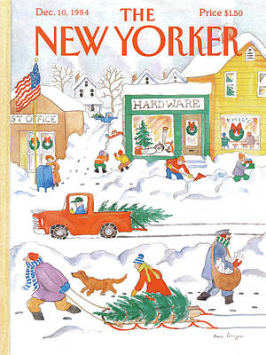 Winter Trees Painting - New Yorker December 10th, 1984 by Anne Burgess
