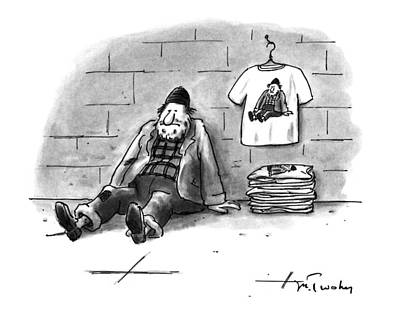 Leaning Drawing - New Yorker December 12th, 1994 by Mike Twohy