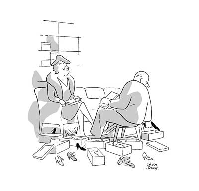 Shoe Drawing - New Yorker December 14th, 1946 by Chon Day