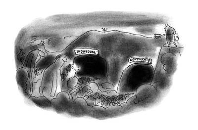 Cavern Drawing - New Yorker December 18th, 1995 by Arnie Levin