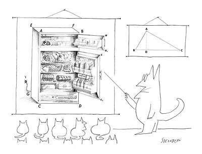 Food Drawing - New Yorker December 19th, 1964 by Saul Steinberg