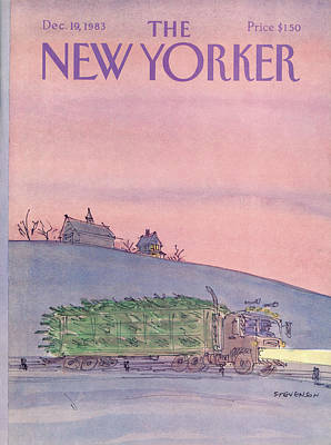Winter Trees Painting - New Yorker December 19th, 1983 by James Stevenson