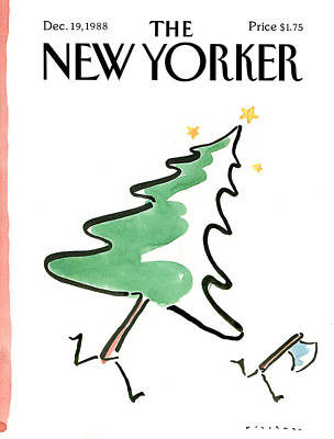 Winter Trees Painting - New Yorker December 19th, 1988 by R.O. Blechman