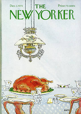 Dinner Painting - New Yorker December 1st, 1975 by George Booth