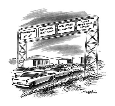 Super Car Drawing - New Yorker December 1st, 1986 by Henry Martin