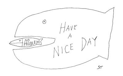 Have A Nice Day Drawing - New Yorker December 1st, 1986 by Saul Steinberg