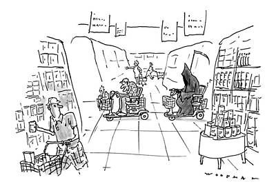 Grocery Store Drawing - New Yorker December 1st, 1997 by Bill Woodman