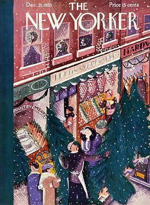 Winter Scene Painting - New Yorker December 21 1935 by Ilonka Karasz
