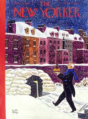 Winter Scene Painting - New Yorker December 21 1940 by Robert Day
