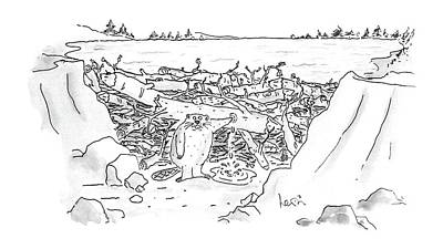 Beaver Drawing - New Yorker December 21st, 1987 by Arnie Levin