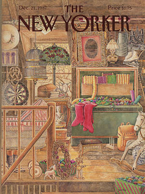 Christmas Decorations Painting - New Yorker December 21st, 1987 by Jenni Oliver