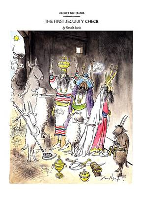 Christ Drawing - New Yorker December 21st, 1992 by Ronald Searle