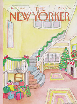Fireplace Painting - New Yorker December 22nd, 1986 by Iris VanRynbach