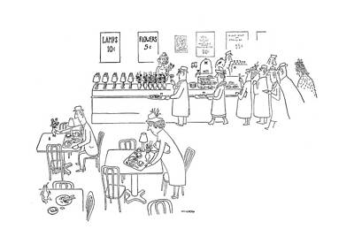 At The Cafe Drawing - New Yorker December 23rd, 1944 by Saul Steinberg
