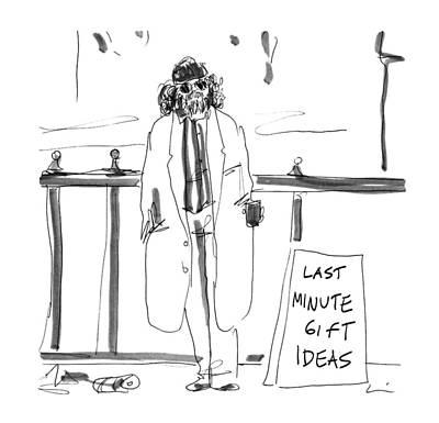 Homeless Man Drawing - New Yorker December 23rd, 1996 by Richard Cline