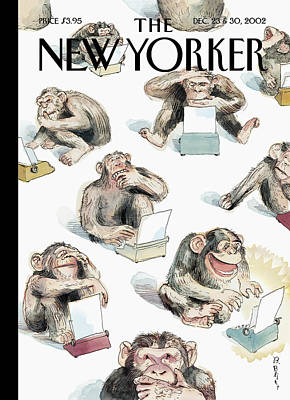 Chimpanzee Painting - New Yorker December 23rd, 2002 by Barry Blitt