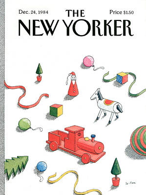 St. Nick Painting - New Yorker December 24th, 1984 by Pierre LeTan